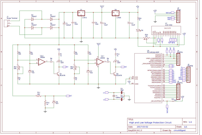 circuit diagram for high low voltage protection pic power antenna circuit diagram inverter circuit diagram microcontroller [ 1360 x 914 Pixel ]