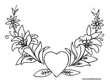 hearts and roses coloring pages - Coloring Pages Hearts Roses