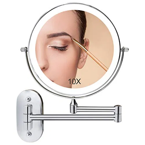 Wall Mounted Make Up Mirror Lighted Eight Inch Double Sided Mirror Rest Room Mirror For Shaving In 2020 Wall Mounted Makeup Mirror Led Mirror Bathroom Cosmetic Mirror