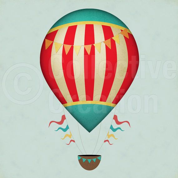 Vintage Hot Air Balloons Digital Clip Art Set