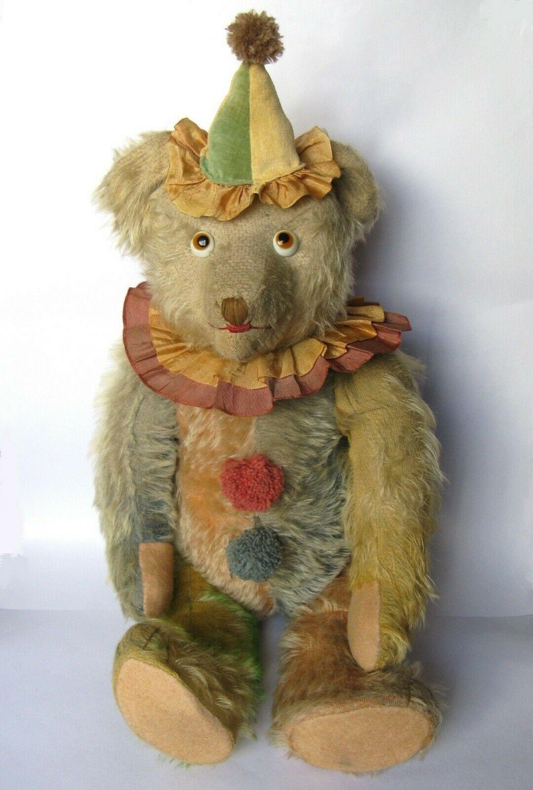 """XRare 1927 20""""(50cm) Cramer Musical Teddy Bear Clown No"""