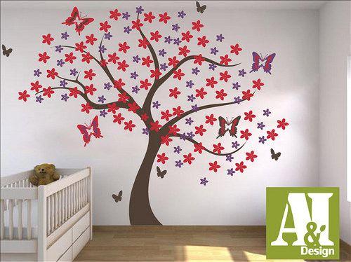 Cdu0606 Vinil Hogar Infantil Arbol Mariposas Flores Decoracion