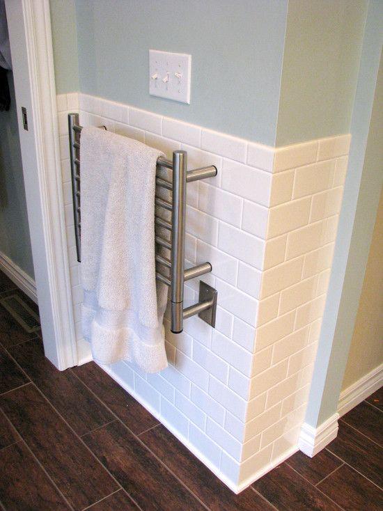 Bathroom Towel Bar: Heated Towel Bar...Traditional Bathroom White Tile Bath