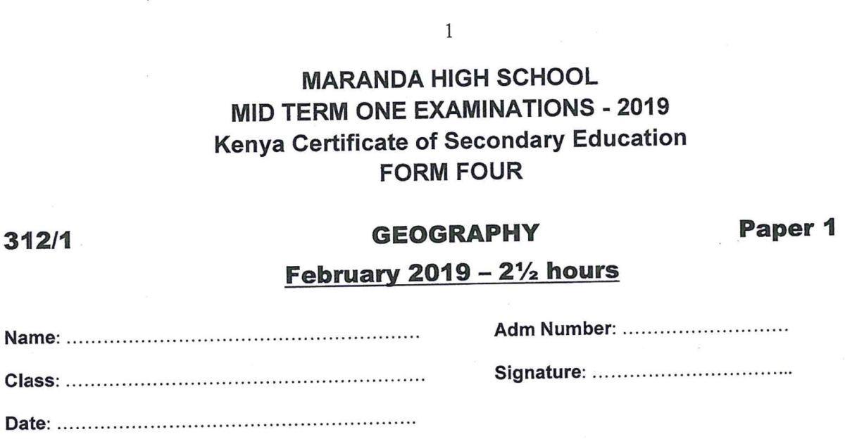 Maranda High Form 4 Geography Paper 1 (Pre-Mock Mid Term 2