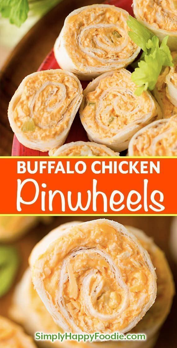 Buffalo Chicken Pinwheels have buffalo wings flavor in a neat pinwheel appetizer. Great party or game day appetizer! simplyhappyfoodie.com #gamedayfood #pinwheelrecipe #buffalochicken pinwheel appetizer #buffalochickennachos