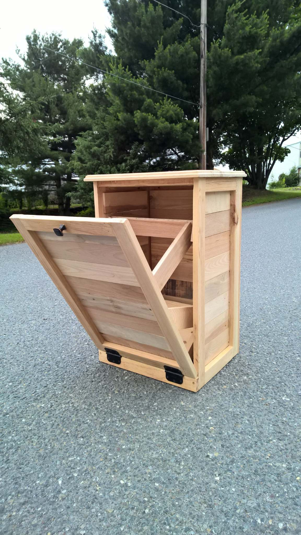 Tilt Out Garbage Can Wood Furniture Pallet wood Rustic