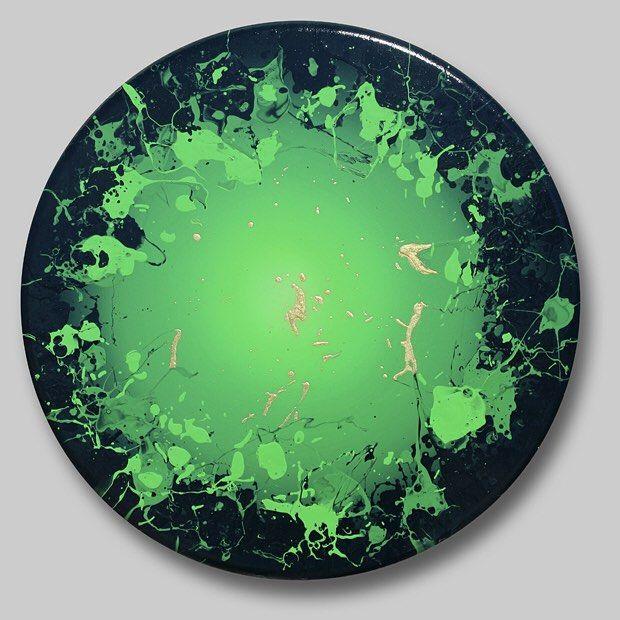 "Courting Kaos: Sense of Green  Benini 2012 36"" diameter  #contemporaryart #greenpainting  #Benini #style"