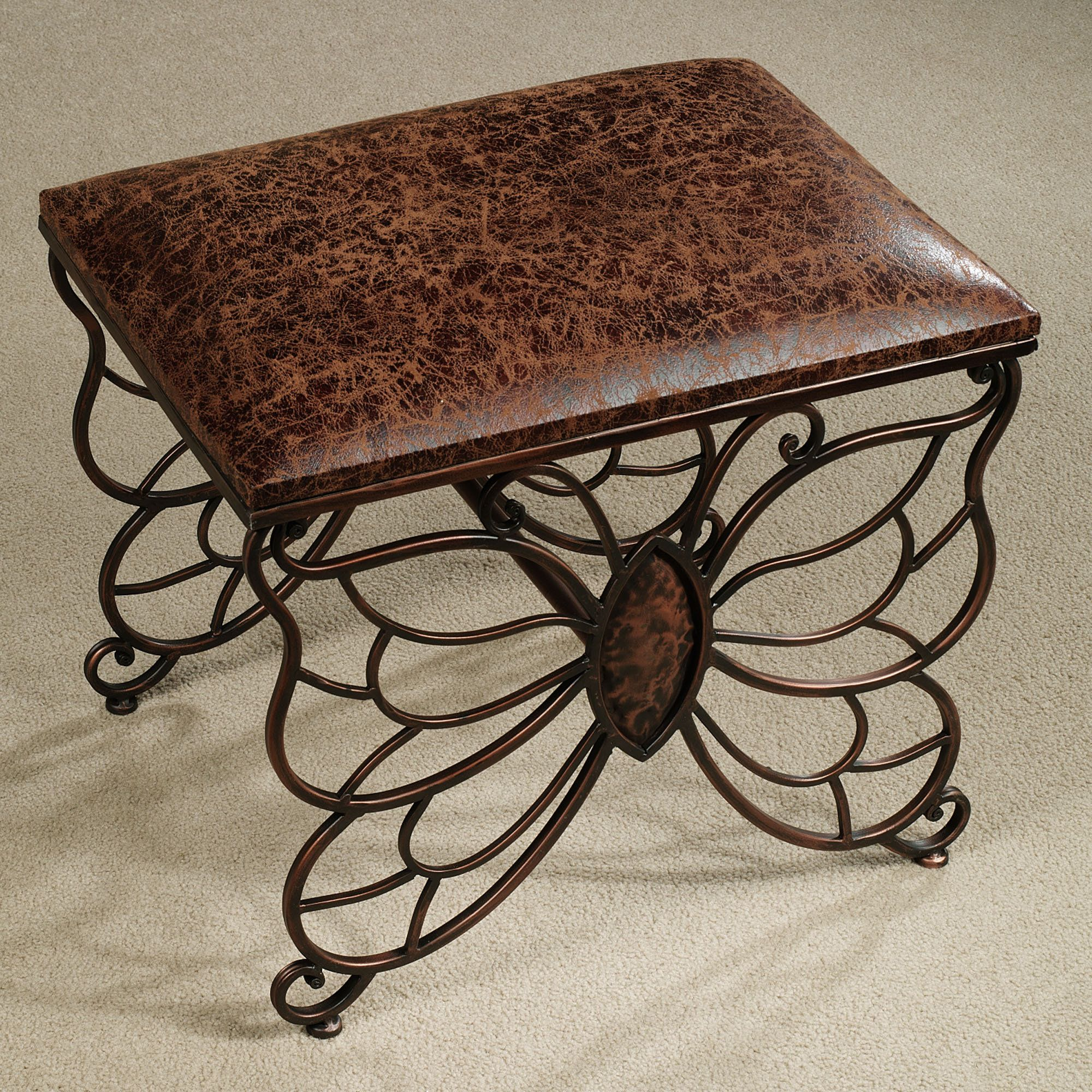 Flights Of Fancy Butterfly Upholstered Accent Stool Fly