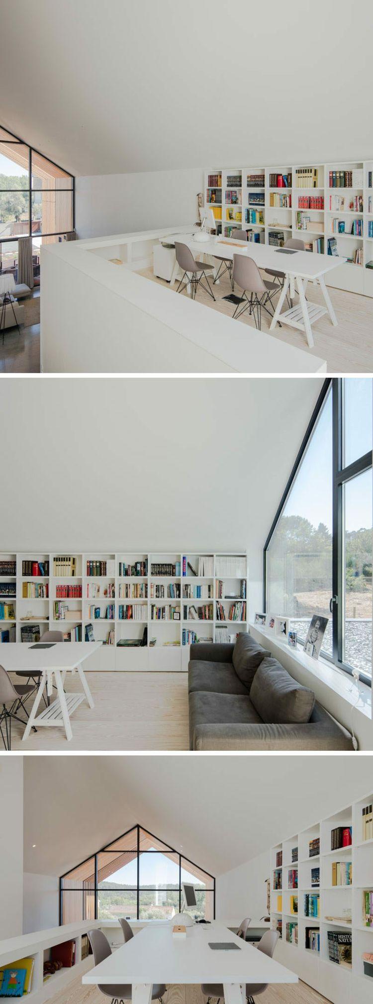 bibliothek home office dachschräge haus ourem #traumhäuser #modern ...
