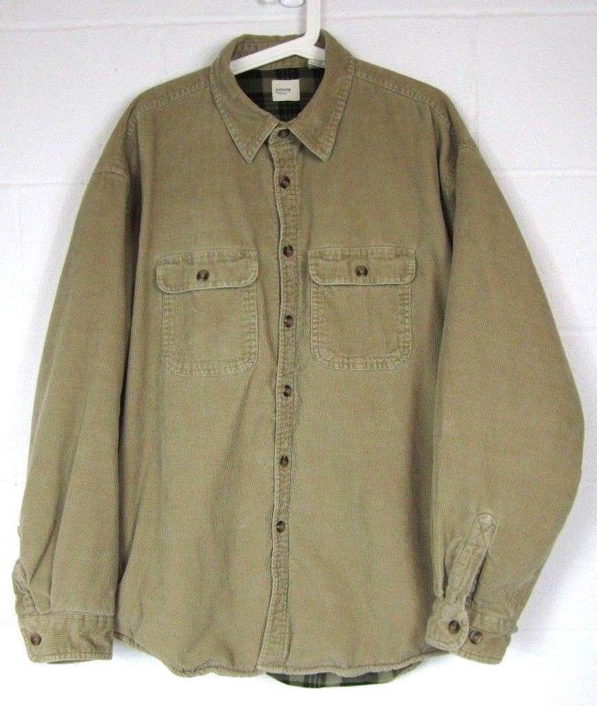 bdac99979 Arrow Mens Corduroy Shirt Jacket Size XL Fleece Lined Pockets Tan ...