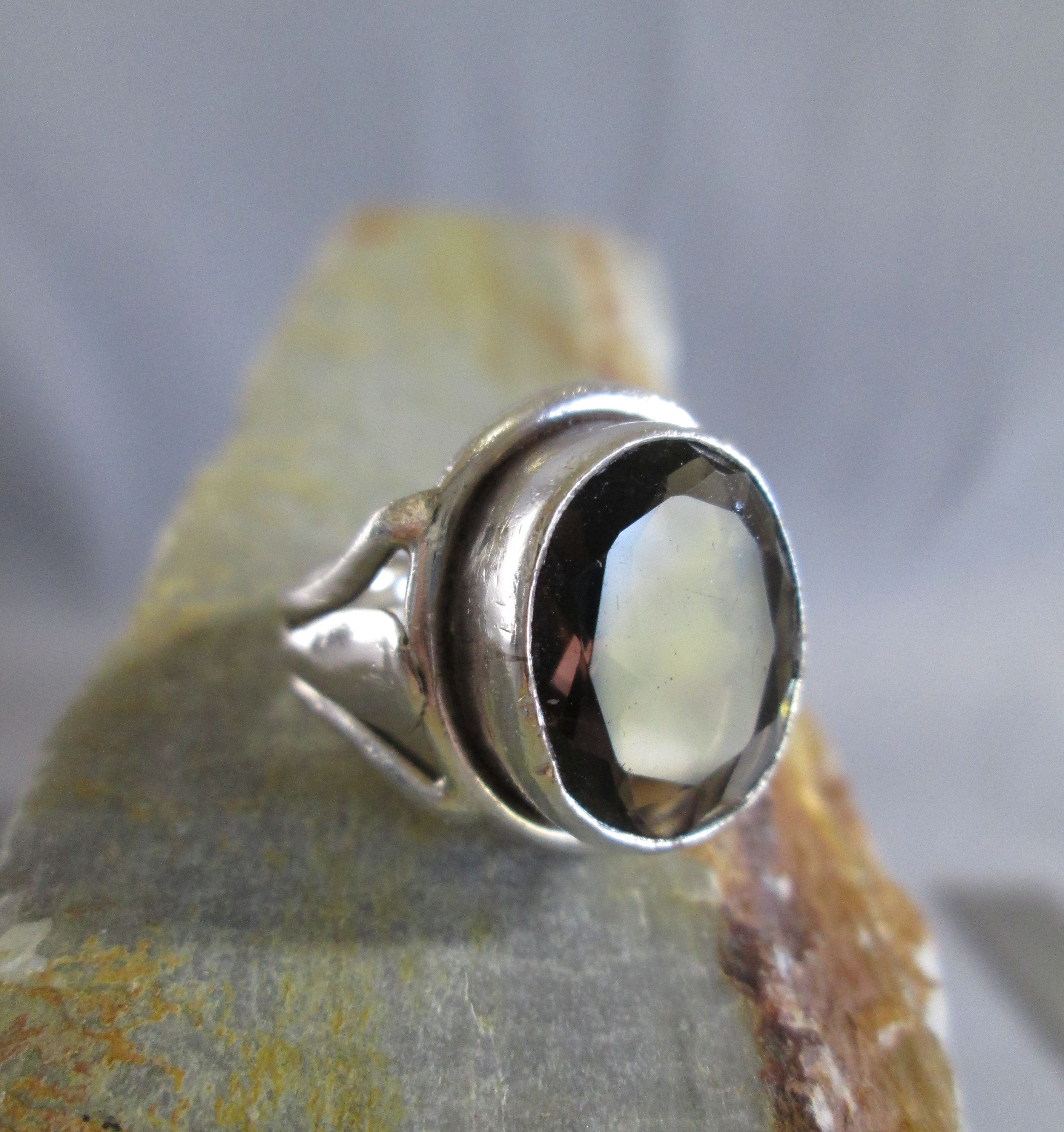 gifts for friends Heavy Cool Rings three stone ring Women Rings Sterling Silver silver thumb ring signet ring stone Large Chunky Rings