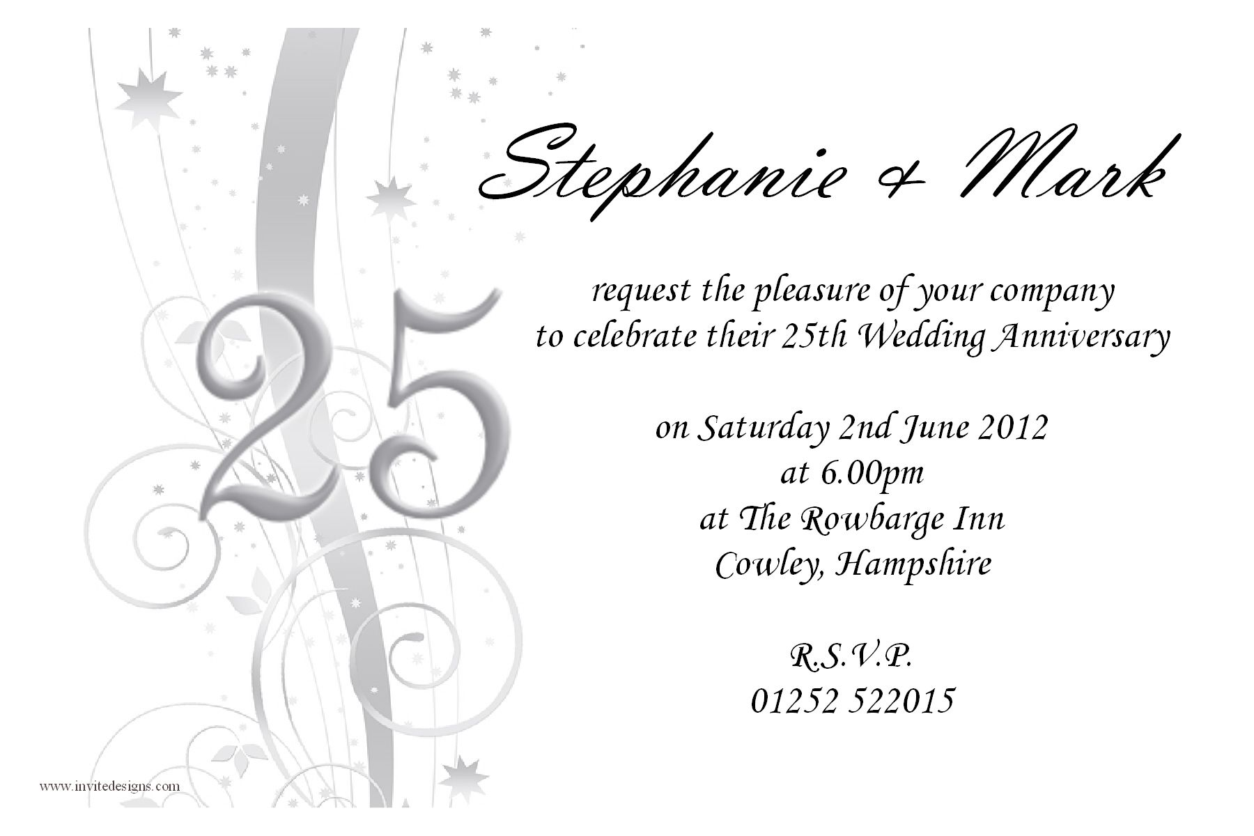 10 Personalised Silver Wedding Anniversary Invitations N9