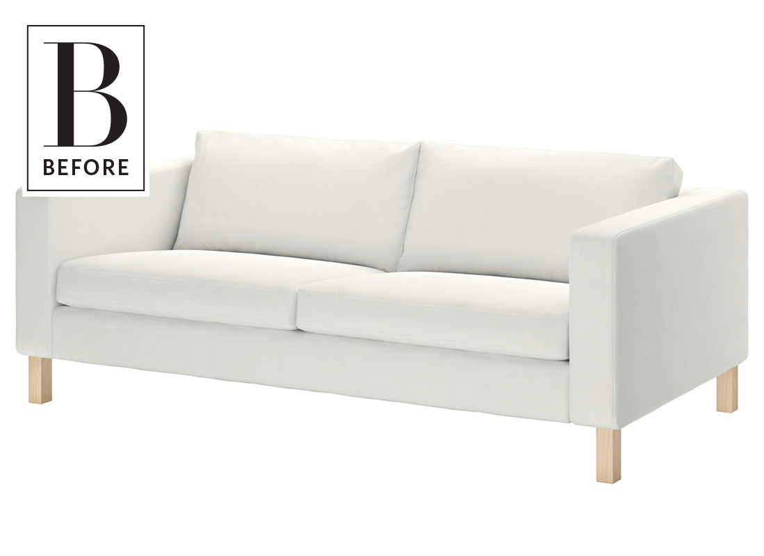 Before After An Ikea Clearance Sofa Becomes A Millennial Pink Dream Ikea Sofa Sofa Makeover Ikea Karlstad Sofa