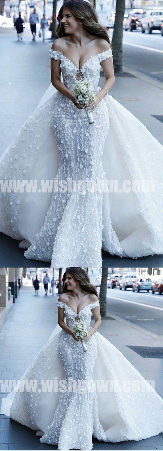 Off the shoulder luxury applique mermaid fashion long wedding