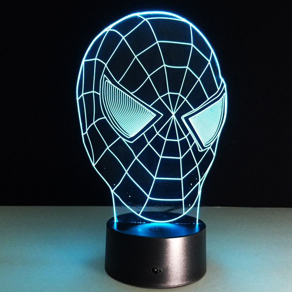 Spiderman 3d Led Light Visual Night Lights Spiderman Mask Usb Led Creative 3d Lighting Lamp For Kids