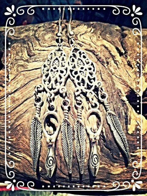 Goddess tribal earrings in Antique silver tone with by BOHORAINBO, $12.00