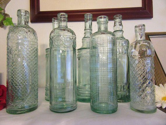 Glass Decorative Bottles Unique Vintage Green Glass Decorative Bottles  Beautiful Home