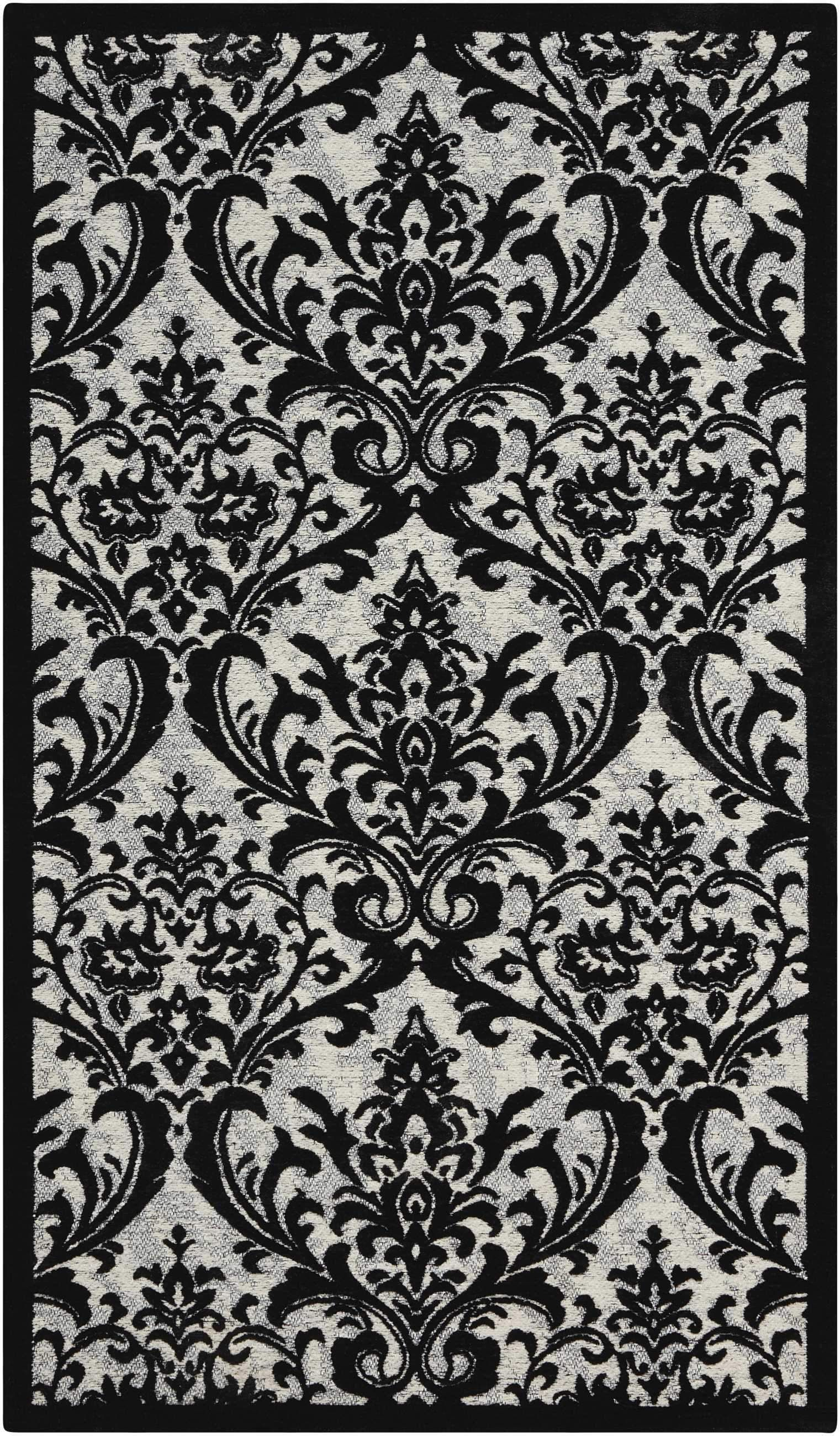 Nourison Damask Black White Area Rug Area Rugs Rugs