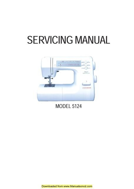 Janome 5124 Sewing Machine Service-Parts Manual | Sewing ... on