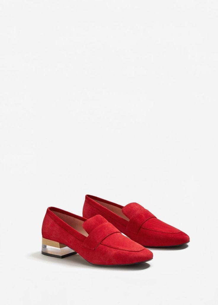 Chaussures cuir ouvertes à l'arrière  orange foncé Mango  La Redoute