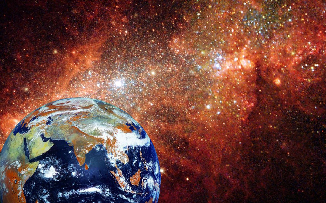 Earth from satellite with Hubble telescope picture as