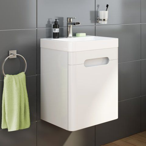 400mm Tuscany Gloss White Single Door Basin Unit Wall Hung White Storage Cabinets Basin Vanity Unit Bathroom Store