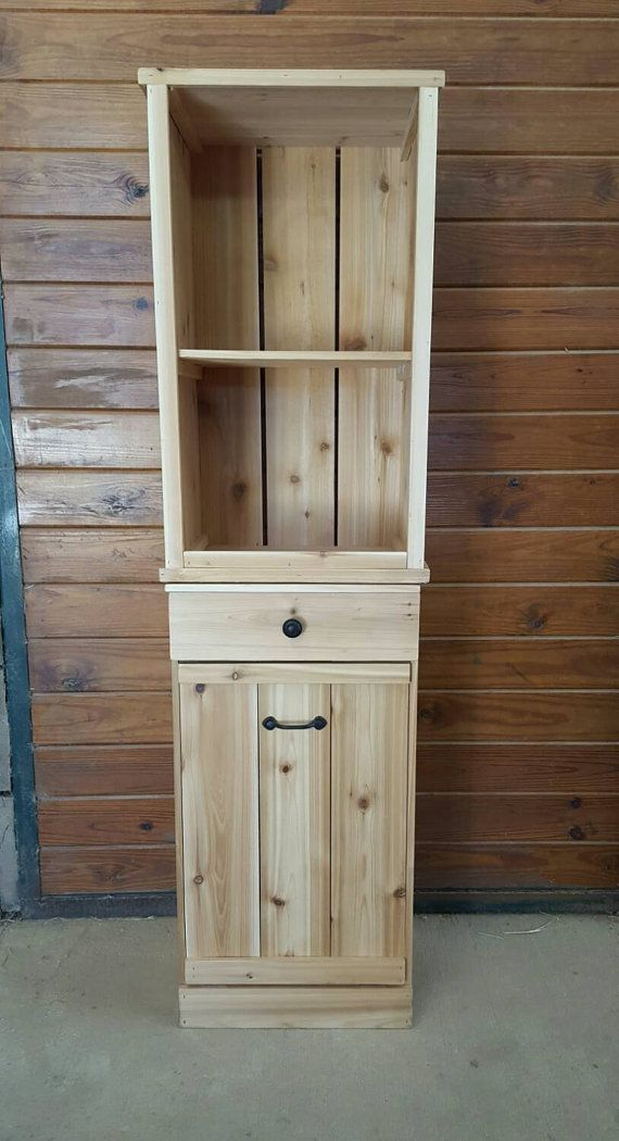 Tilt Out Trash Bin Cabinet Kitchen Trash Can Trash Can Cabinet Laundry Hamper Wooden Trash Can Farmh Trash Bins Food Storage Cabinet Barn Wood Projects