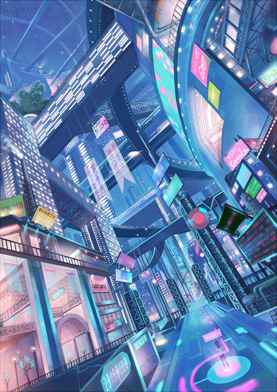 retro-futuristic, future city, cyberpunk, neon, colorful ...