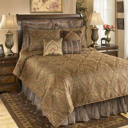 Moroccan King Bedding Set Signature Design By Ashley Furniture 325 00 1 Oversized Comforter 2 Pillow Shams Bed Skirt 17 Inch Drop