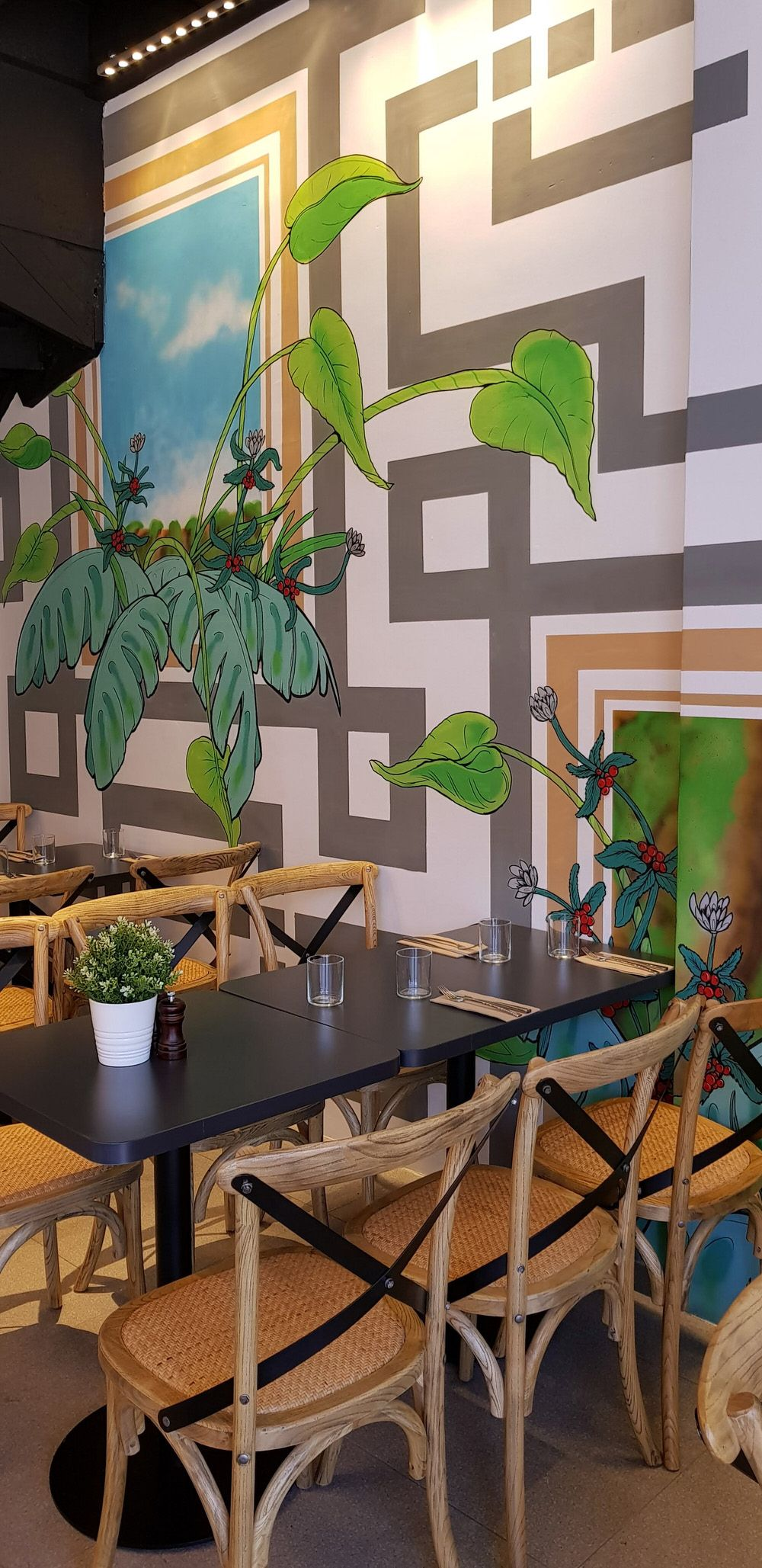 Finished interior plant cafe mural wall graphics design