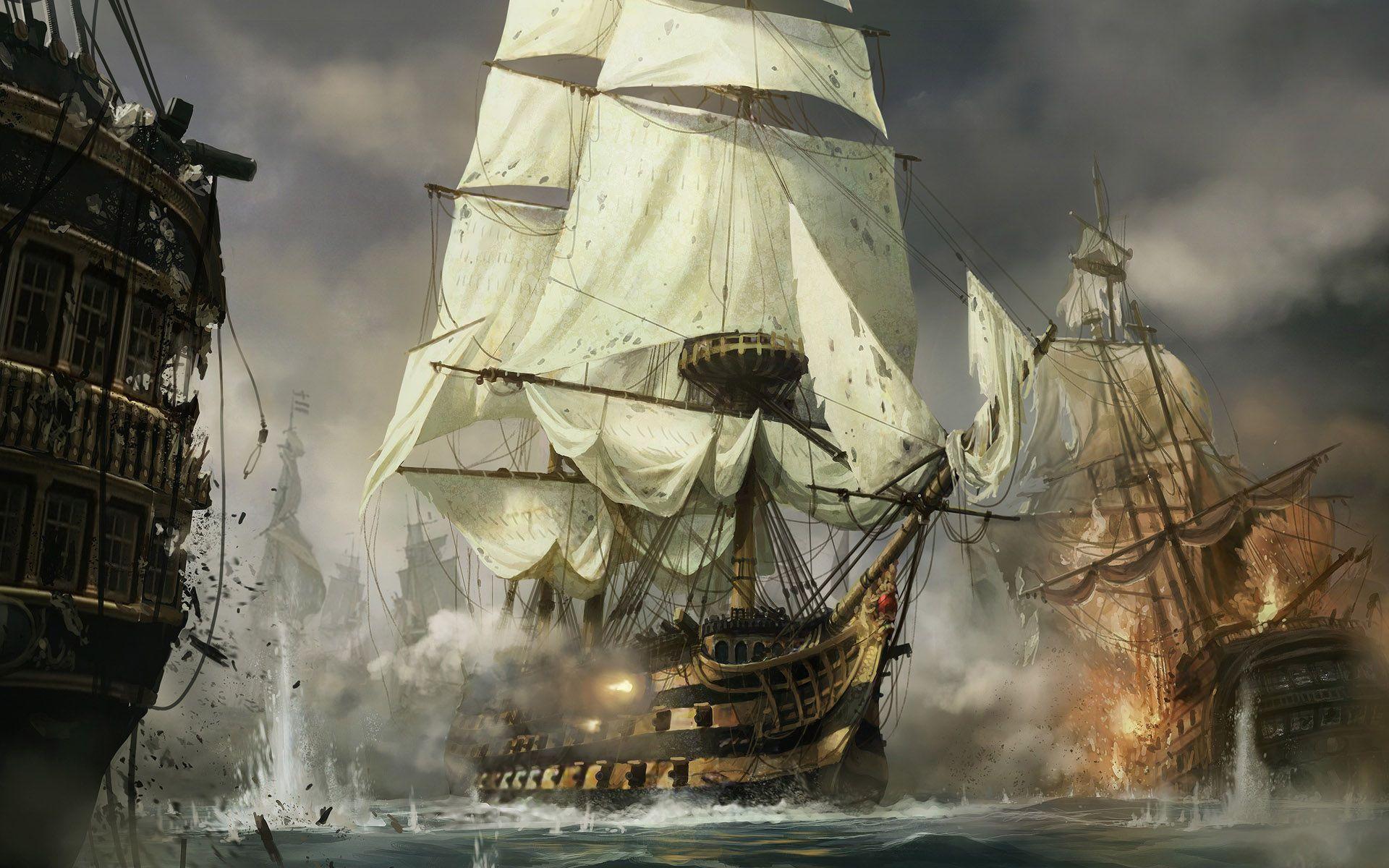 Ship Battle Sailing Ship Art Pinterest Sailing Ships