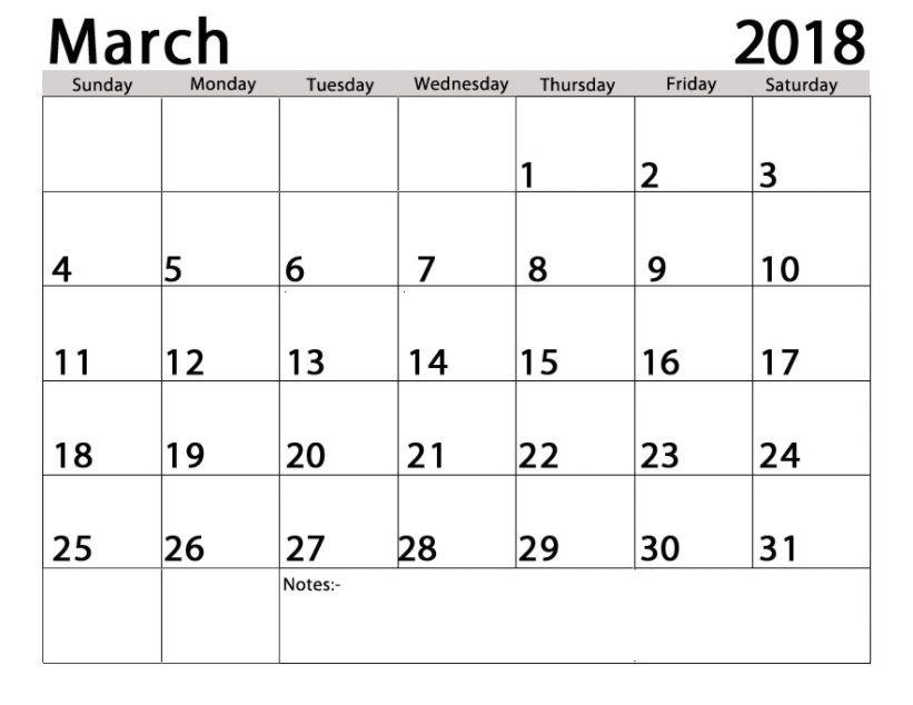 2018 blank calendars