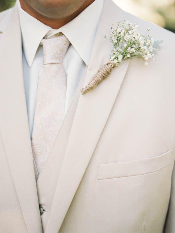 cream groom attire with babys breath boutonniere #groom #cream #babysbreath http://www.weddingchicks.com/2014/01/21/vintage-southern-wedding/