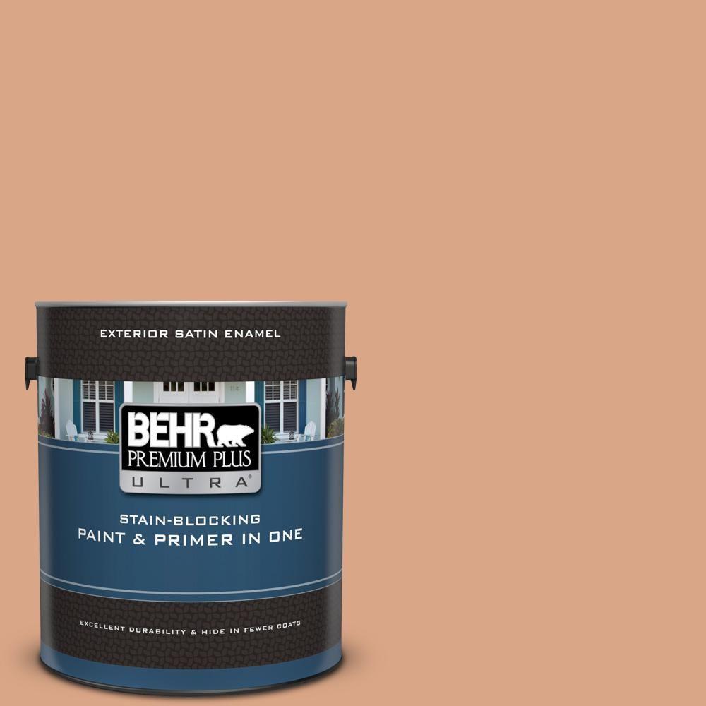 Behr Premium Plus Ultra 1 Gal Ppu3 10 Nairobi Dusk Satin Enamel Exterior Paint And Primer In One Exterior Paint Paint Primer Exterior