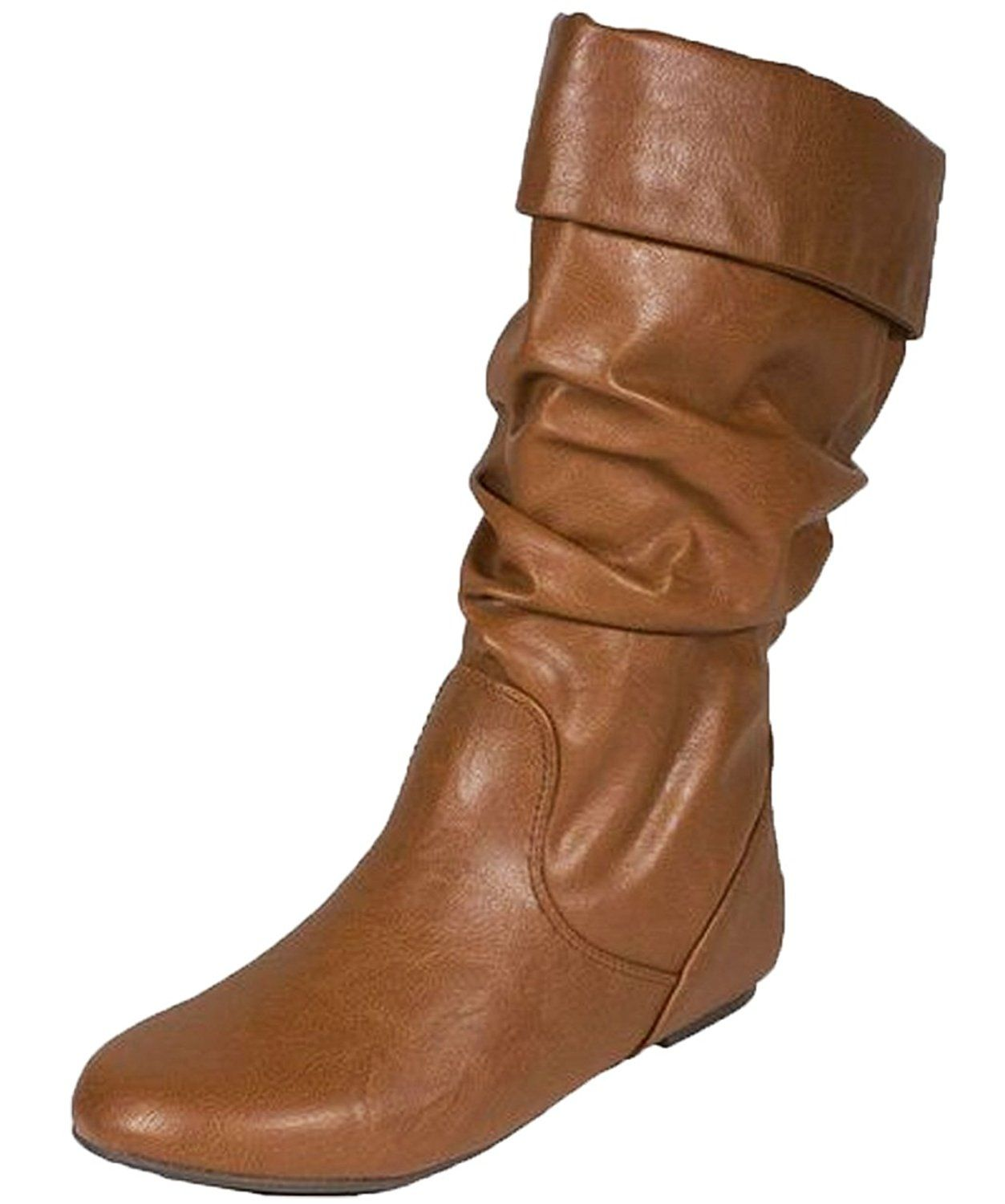 Women's Classic Basic Soft Faux Leather Slouchy Flat Knee High Boots COGNAC  (7.5) >