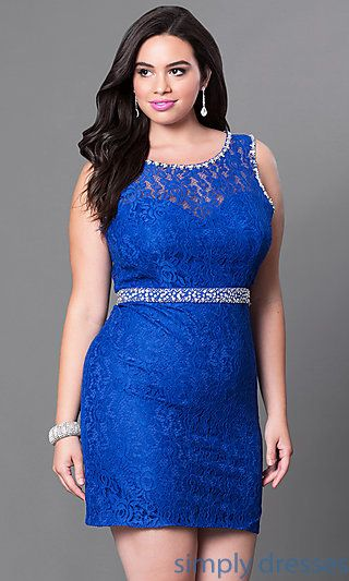Plus-Size Lace Homecoming Dress with Jewel Accents | Lace dresses ...