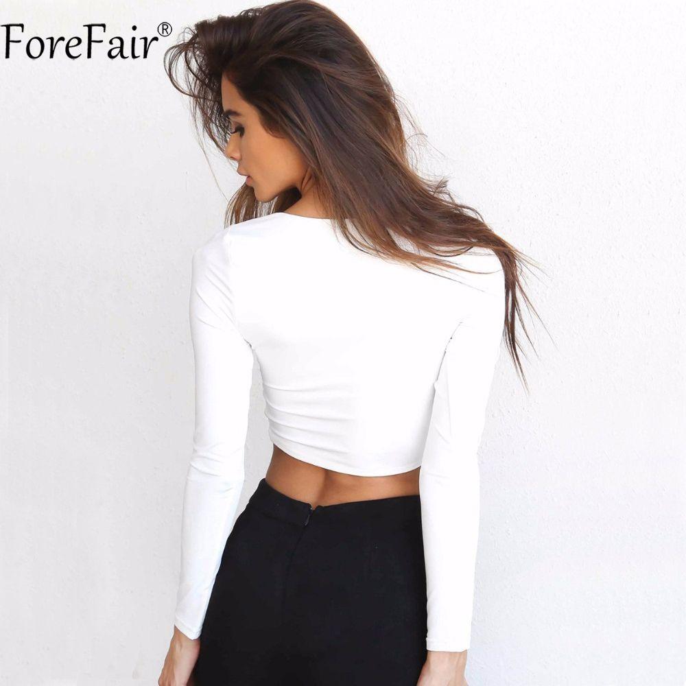 2e8c8073e421de $17.55 - Awesome ForeFair 2017 Trend Cross V-neck Sexy Crop Top Women Slim T -shirt Black White Purple Long Sleeve T shirt - Buy it Now!