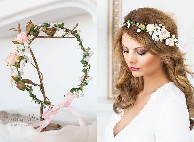 Haarschmuck Kopfputz Blumenkranz Rosen Hochzeit Blumen