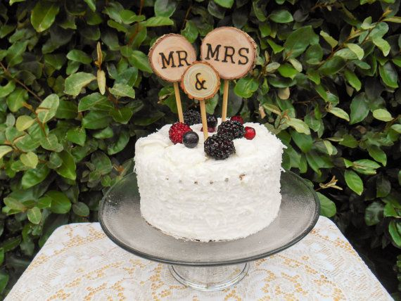 Wood Cake Topper/ Rustic Wedding Cake By