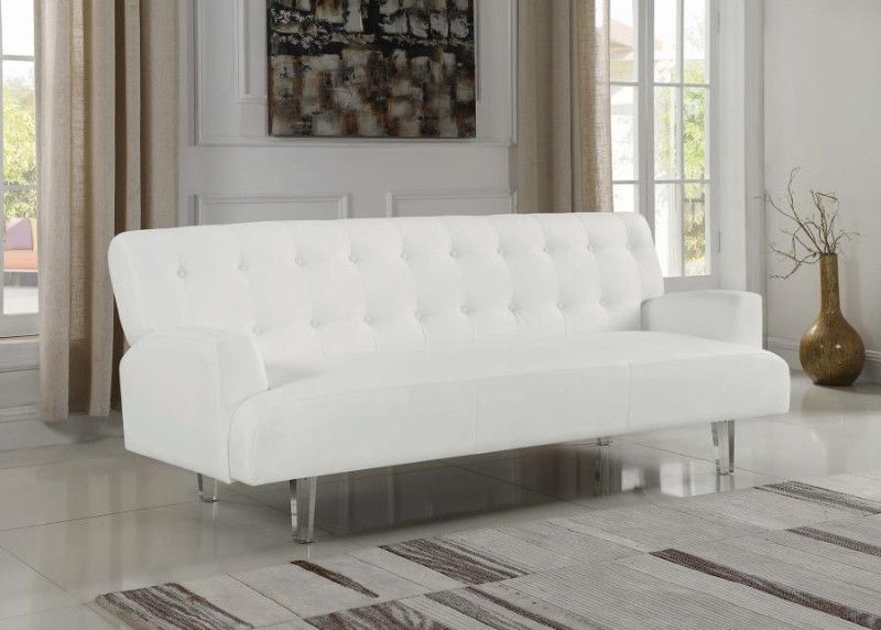 360049 White Faux Leather Folding Futon Sofa Bed With Clear Acrylic Legs
