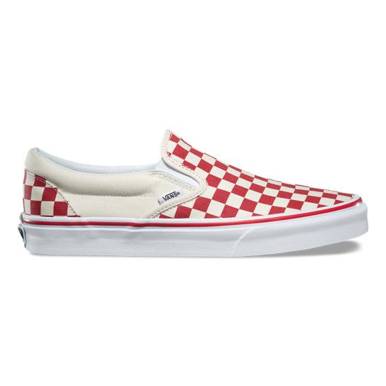 red and white checkerboard vans slip ons