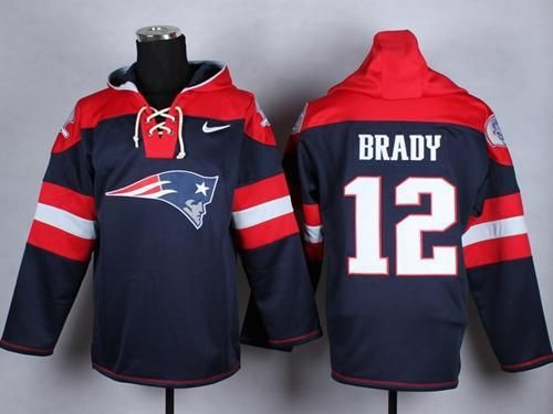 9ca6a628 Tom Brady New England Patriots Hockey Style blue and Red pullover ...
