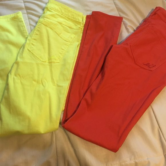 Bright yellow and coral jeans Bright Yellow and coral express jeans. Skinny jeans material is very soft. Worn once each.  Separate or together . One for 22 or two for 40 Express Jeans Skinny