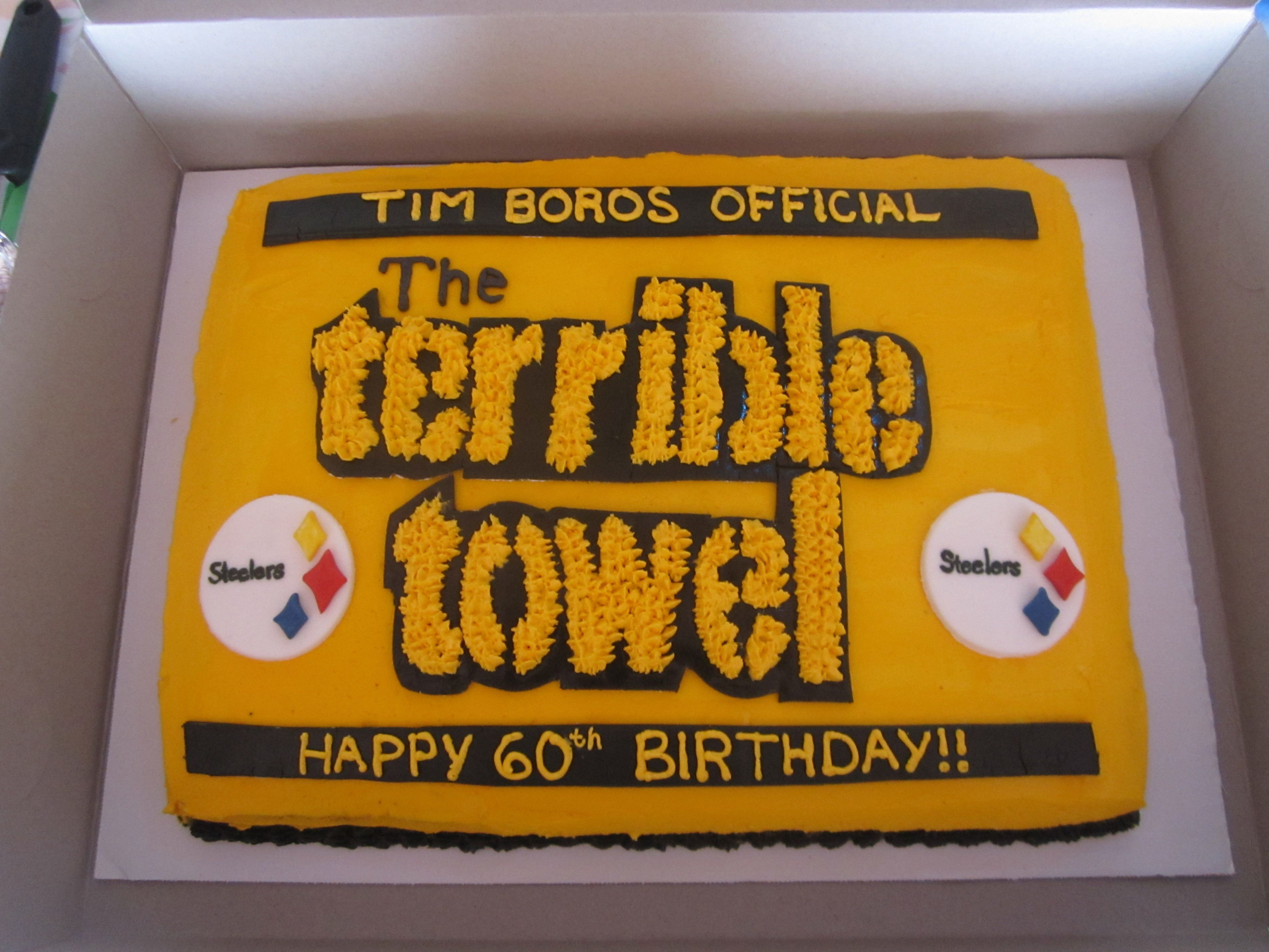 Terrible towel cake for father laws surprise 60th birthday towel terrible towel cake for father laws surprise 60th birthday filmwisefo Gallery