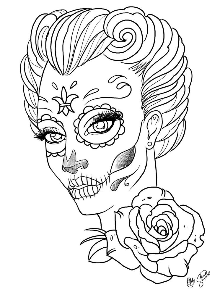 coloring pages coloring pages for adult tattoo sugar skull - Tattoo Coloring Books