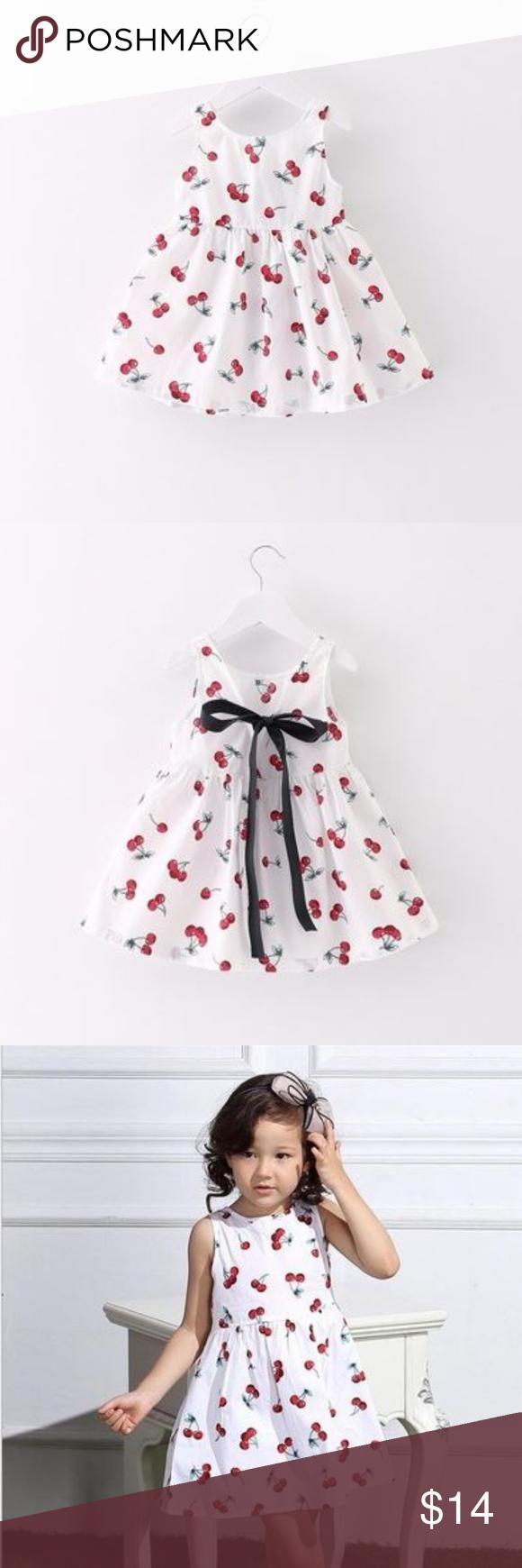 Baby Girl White Cherries Dress 12 18 Mo Cherry Dress Toddler Dress Dress Cover [ 1740 x 580 Pixel ]