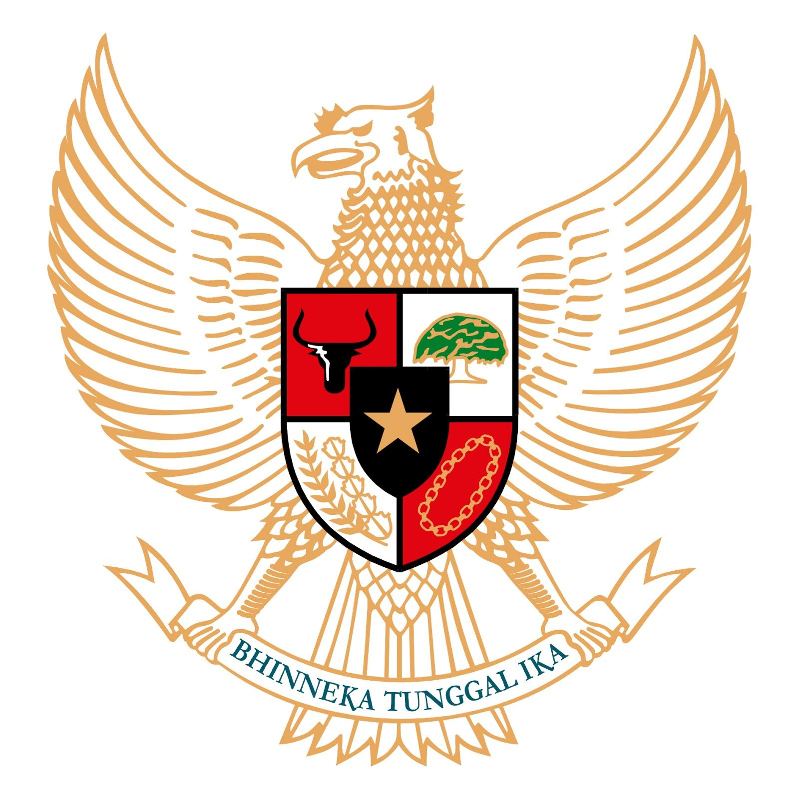 Logo Garuda Pancasila Emas Lambang Negara Buku Mewarnai Gambar Sayap