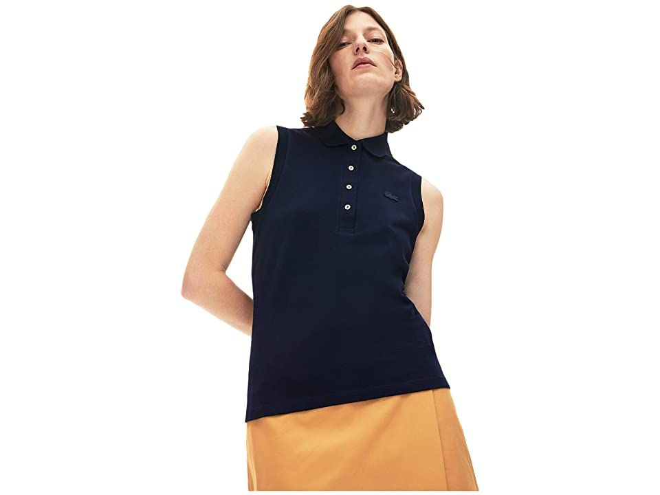 Lacoste Sleeveless Slim Fit Pique Polo Women's Clothing Navy Blue