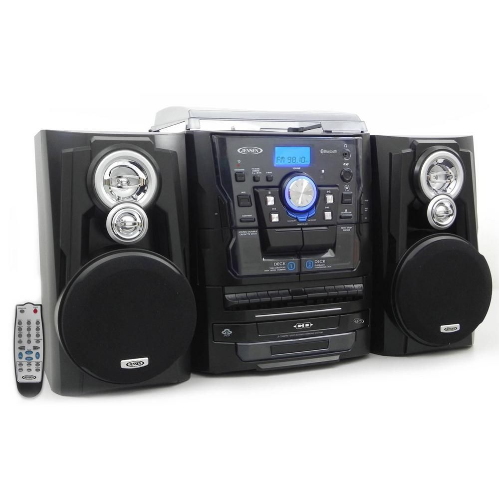 JENSEN Bluetooth 3-Speed Stereo Turntable Music System with 3CD Changer and Dual Cassette Deck #musicsystem