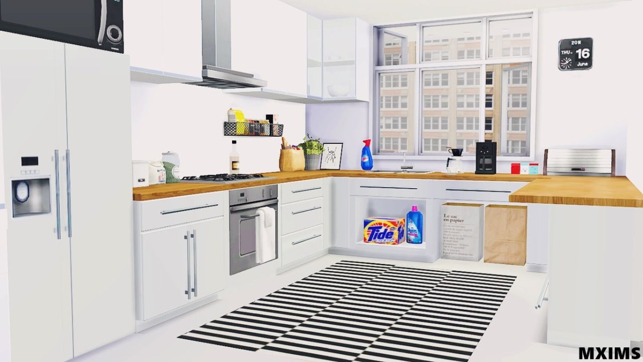 Sims Kitchen Maximss 2t4 Basic Kitchen 5 Meshes Counter With 6 Swatches